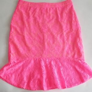 Umgee Neon Pink Lace Mermaid Flare Skirt M